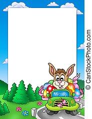 påsk, ram, med, kanin, drivande, bil