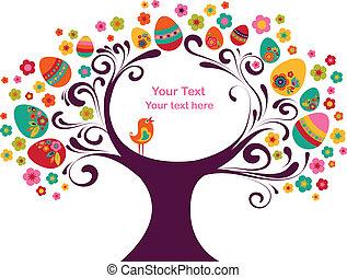 påsk, ram, träd