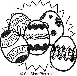 påsk, skiss, ägg