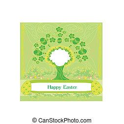 påsk, träd, ram