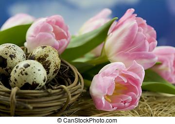 påsk, tulpaner, och, ägg