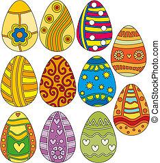 påske ægg, farverig, samling