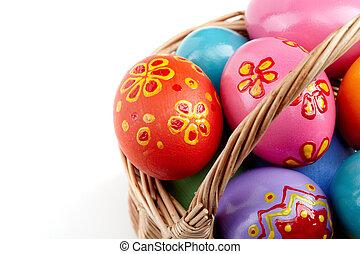 påske ægger, ind, kurv