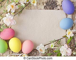påske ægger, og, blank, bemærk