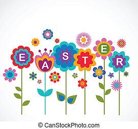 påske, hilsen card, hos, blomster