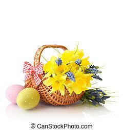 påskliljor, och, påsk eggar