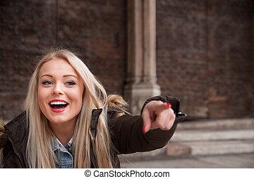 påstå, blondin, sightsee, turist