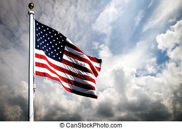 påstår, flagga, enigt, amerika