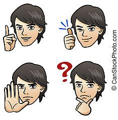 pæn, facial, mand, udtryk