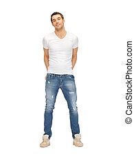 pæn, mand, ind, hvid skjorte
