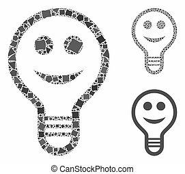 pære, inequal, elementer, smile, ikon, komposition