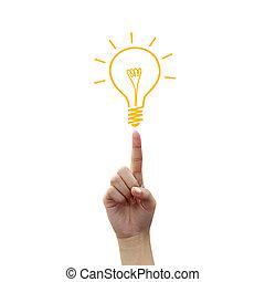 pære, lys, affattelseen, på, fingerspids