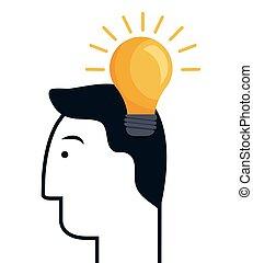 pære, lys, ide, ikon