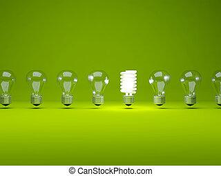 pærer, række, lys