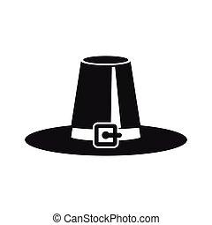pèlerin, chapeau, simple, style, icône