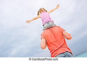 père, épaules, sien, fille, porter