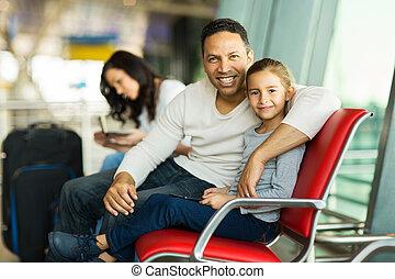 père, aéroport, banc, fille, séance