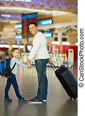 père, aéroport, fille, bagage