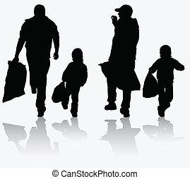 père, achats, ensemble, fils