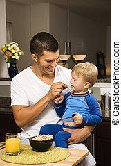 père, alimentation, son.