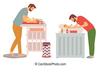 père, baigner, changer, enfant, gosse, ensemble, couches