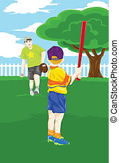 père, base-ball, jouer, fils