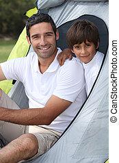 père, camping, fils