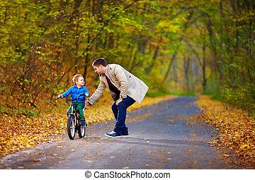 père, cavalcade, vélo, enseigne, fils