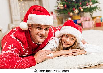 père, chapeaux, fille, santa