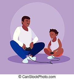 père, conception, jouer, fils