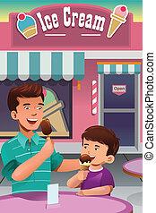 père, crème, manger, glace, fils
