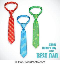père, cravate, jour, carte