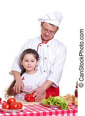 père, cuisine, fille, ensemble
