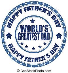 père, day-stamp, heureux