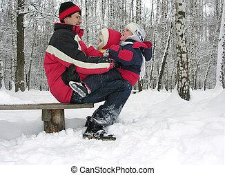 père enfants, sur, neige