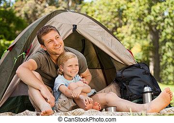 père, et, sien, fils, camping