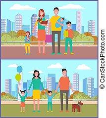 père, famille, gosses, mère, parc, ville