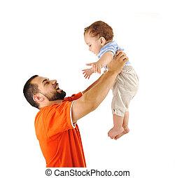 père, fermer, fils, ensemble, fils, studio, tenant bébé, mon