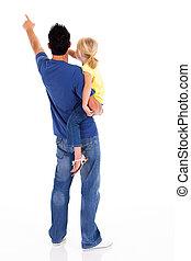 père, fille, jeune, pointage