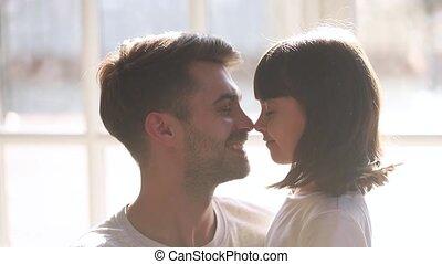 père, fille, nez, préscolaire, jouer, toucher