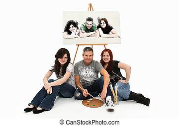 père, fille, peinture, portrait famille