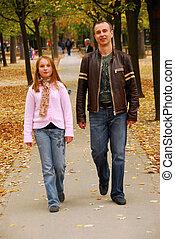 père, fille, promenade
