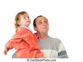 père, fille, regarder