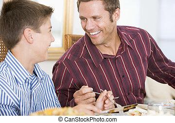 père fils, à, dîner noël