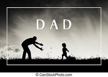père, fils, concept., bras, sien, ouvert, outdoors., jour pères