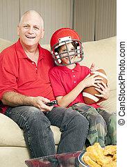 père, fils, football, ventilateurs