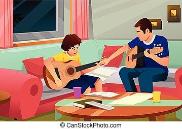père, fils, jouer, sien, guitare, illustration