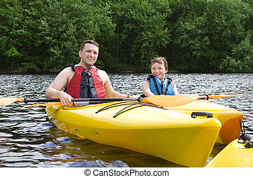 père fils, kayaking