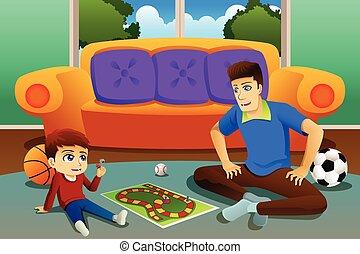 père, fils, panneau jeu, maison, jouer