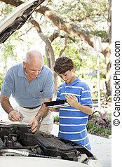 père, fils, réparation auto, à, copyspace